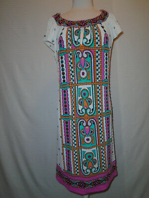 ECI Womans Multi Color Floral Beaded Dress Size 10