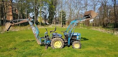 Compact tractor Iseki 2160 tractor with front digger and Lewis backhoe