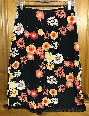 712cbe7b4 Medium XHILARATION Black Pencil Skirt w/ Orange Floral Pattern & Lace Trim