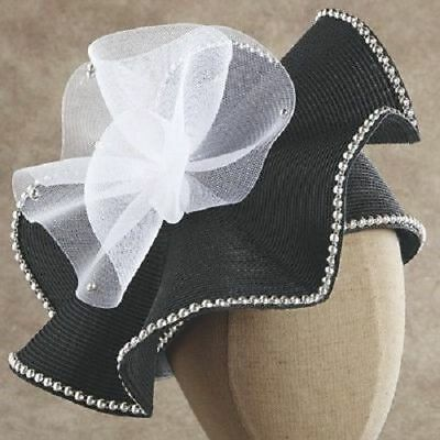 5051d2eed32a2 Arnita Hat Pearl Trim Black White Church Hat by Ashro new