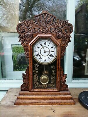 Antique Oak Cased Gingerbread Clock