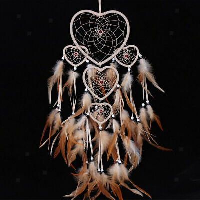 Handmade Hearts Shape Dream Catcher With Feathers Wall Hanging Decoration