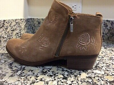 cecff89a3 SAM EDELMAN WINNIE Suede Embroidered Ankle Booties Size 10 Whisky ...