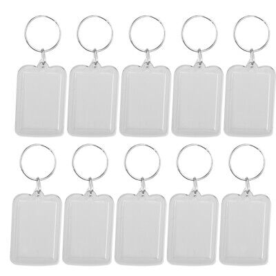 MagiDeal 10Piece Oblong Clear Acrylic Keyring Make Your Own Photo Keychain