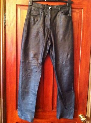 Womens Black Leather Trousers 14 High Waist VINTAGE See Measurements (B2)