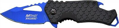 Mtech MTA882BL Black Straight Assisted Blue Folding Knife w/ Bottle Opener