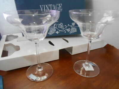 Marquis by Waterford Set of 2 Clear Vintage Margarita Glasses ~ 7 1/4 inches nib