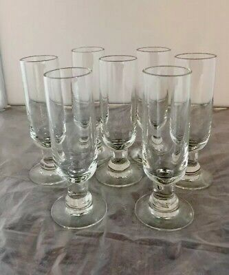"Vintage Cordial Liquor Wine Stemmed Footed Glasses Clear Glass 4"" Tall Set Of 7"