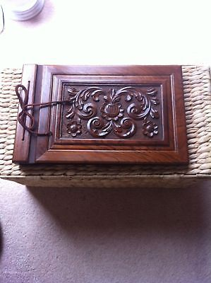 Hand Carved Wooden Book Photo Album Rare!