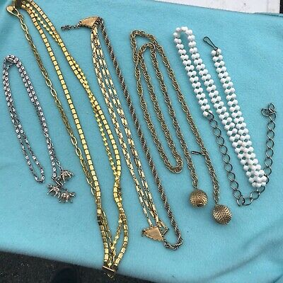 Lot of 5 Vintage Gold Tone Metal Rope Chain Belts 70s 80s Mod Boho