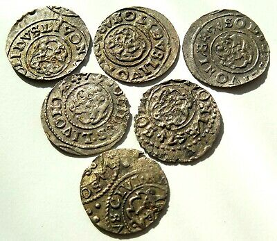 Lot Of 6 Medieval Hammered Silver Coins 16 Th Century Rare! #02