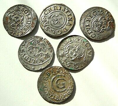 Lot Of 6 Medieval Hammered Silver Coins 16 Th Century Rare! #03