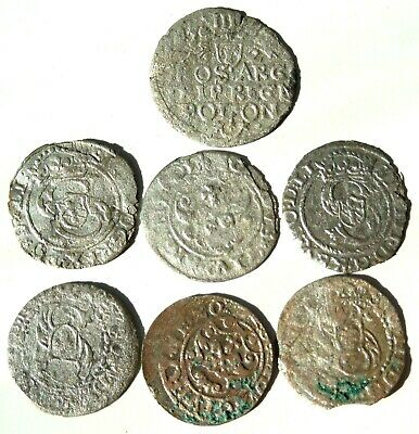 Lot Of 7 Medieval Hammered Silver Coins 16 Th Century Rare! #01