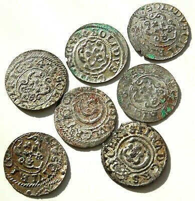Lot Of 7 Medieval Hammered Silver Coins 16 Th Century Rare! #04