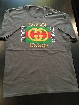 90b44e38aec Late 80s Early 90s Vintage Style Bootleg Gucci Charcoal Grey T-Shirt Unisex  XL