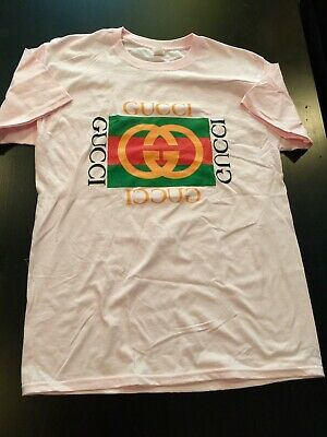d8d66c17467 Late 80s Early 90s Vintage Style Bootleg Gucci Light Pink T-Shirt Unisex  Medium