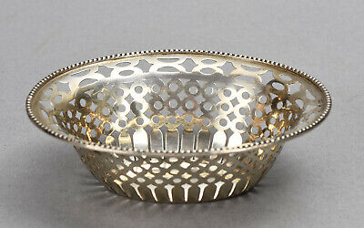 William Neale 1903 Chester Small English Sterling Silver Oval Reticulated Basket