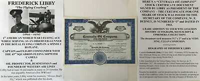 1st WWI FIGHTER ACE BI-PLANE CAPTAIN AIRLINE OIL COMPANY STOCK DOCUMENT SIGNED