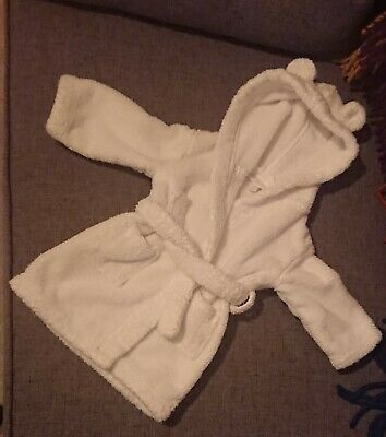 Little White Company towelling hooded dressing gown bath robe age 6-12 months