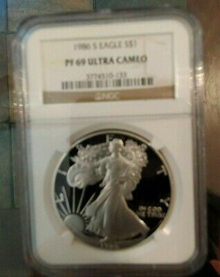 1986-S 1oz PROOF AMERICAN SILVER EAGLE, CERTIFIED BY NGC PF69 ULTRA CAMEO