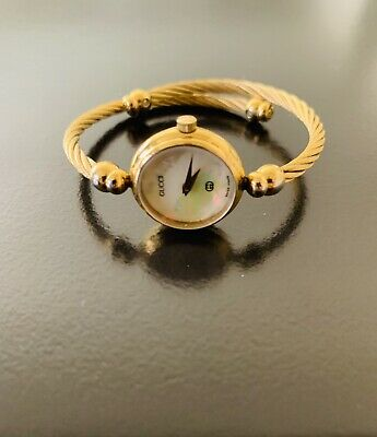 3f1ef711b38 GUCCI 2700L SWISS Made Mother of Pearl Gold Plated Wraparound Bangle ...