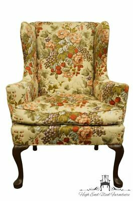 HICKORY CHAIR Solid Walnut Wingback Accent Arm Chair w. Floral Upholstery