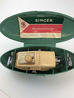 Vintage 1960 Singer Buttonholer Green Clamshell Case  - And accessories
