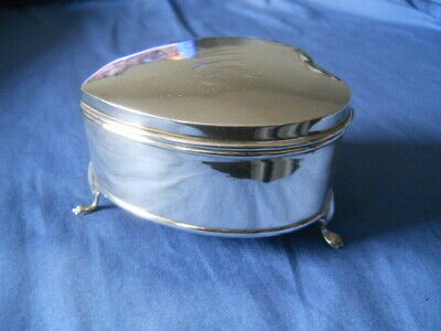Antique Chester Sterling Silver Heart Shaped Jewelry Box