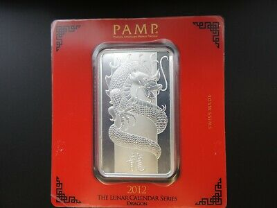 100 gram Silver Bar - PAMP Suisse - Year of the Dragon .999 Fine in Assay