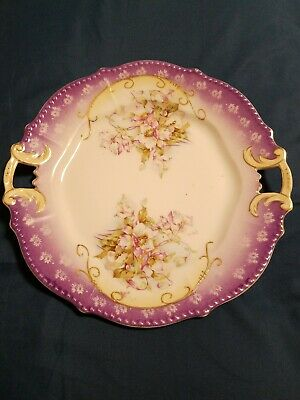 Antique Hand Painted Handled Plate