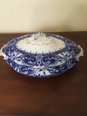 """Wedgewood Flow Blue gold antique large footed serving bowl """"Irene"""""""