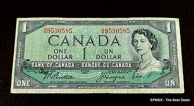 1954 Canada $1 One Dollars Banknote B/M9530585 Queen Elizabeth Circulated Cond