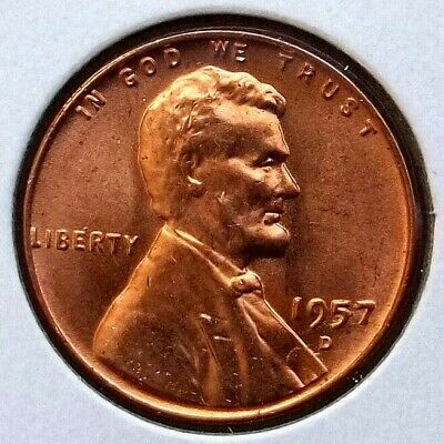 1957-D Lincoln Cent Wheat Penny US 1C Coin Denver Mint UNC Cond. *LC40