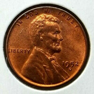 1952-D Lincoln Cent Wheat Penny US 1C Coin Denver Mint UNC Cond. *LC23