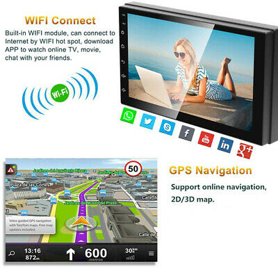 """US 7"""" Inch Double Din WIFI Android 8.1 Car Stereo GPS Navigation Radio Player #R"""