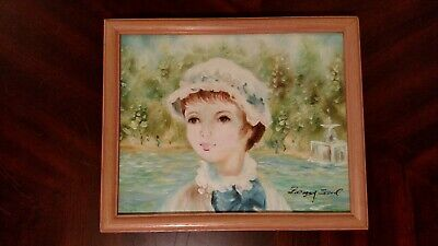 Vintage Oil Painting Of Young Girl