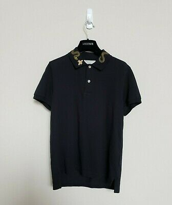 11aa3a67e GUCCI Black Snake & Bee Collar Embroidered Polo - Men's Small - Authentic