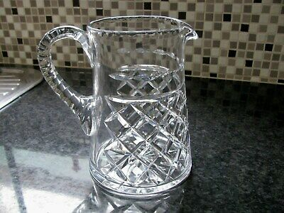 ANTIQUE  BOHEMIAN HAND CUT LEAD CRYSTAL LARGE WATER JUG 1900's