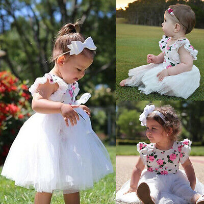 Newborn Baby Girl Flowers Romper Bodysuit+Tulle Skirt Dress Oufits Sunsuit 0-3Y