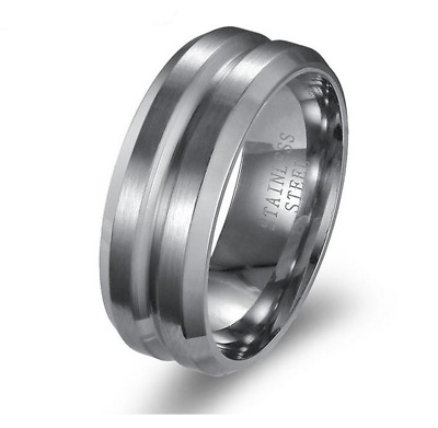8MM 316L Stainless Steel Titanium Men Women Wedding Engagement Band Ring Size 12