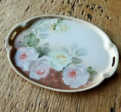 Antique RIS SILESIA Pink & Yellow Roses HAND PAINTED Ceramic VANITY TRAY Shabby