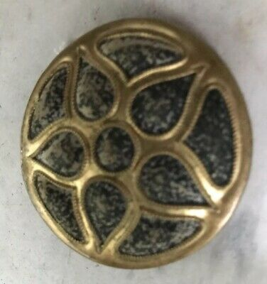 antique Metal belt buckle Possibly Victorian Fabric Inserted