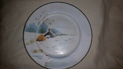 Antique Nippon winter cabin on water scene hand painted porcelain plate