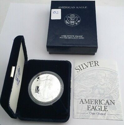 2002 W Proof American Silver Eagle Dollar with Box and COA