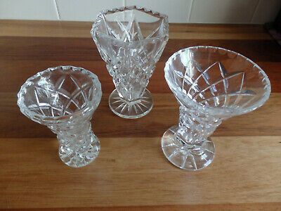 3 Collectable Cut Glass Vases. 10, 11 & 12 cms tall