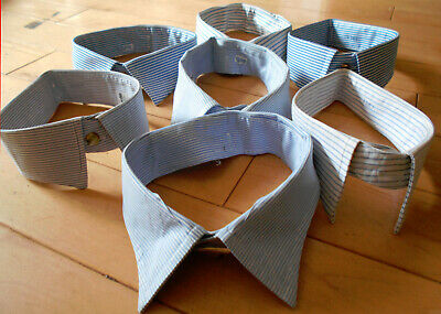 SHIRT COLLARS SEMI STIFF x 7 BLUE AND WHITE VINTAGETHEATRE PROPS ROLE PLAY