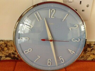 vintage 1960's Metamec electric baby blue/ chrome wall clock fully working