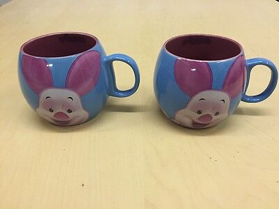 """Pair Of Official Disney Winnie The Pooh """"PIGLET"""" Round Barrel Mugs Collectible"""