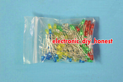 100pcs(5 colors, 20 each) 3mm Red Yellow Green Blue White LED Assortment Kit