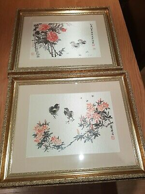 Framed Chinese Chicks Painted On Silk Seal Mark x 2